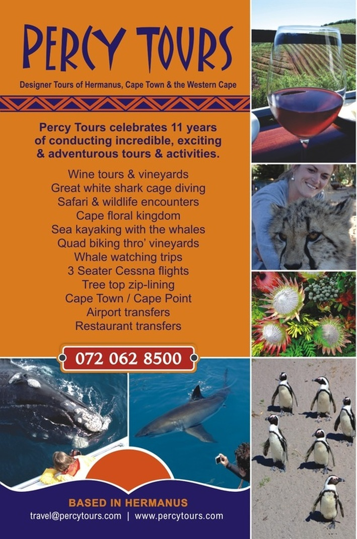 Percy Tours of Hermanus celebrated, in 2015, over 11 years of conducting tours, activities and adventures of Hermanus, Cape Town and the Western Cape